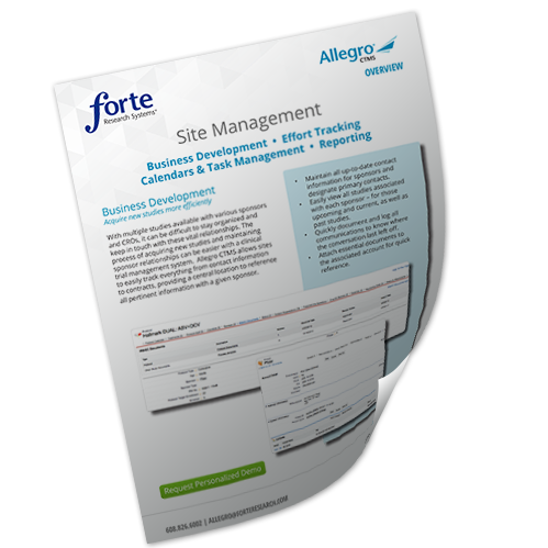 Allegro CTMS Site Management Overview
